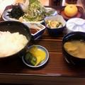 私はアジのたたき定食を食べました。