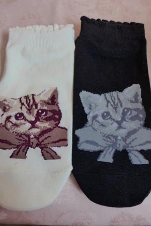 しまむらで猫柄の可愛い靴下を見つけて購入しました。
