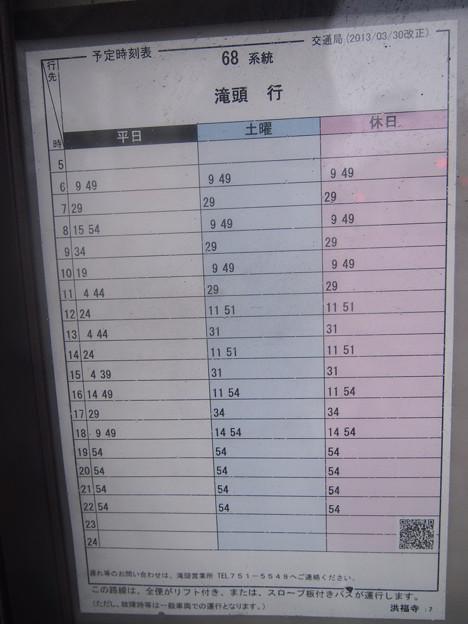 バス停~滝頭行き時刻表