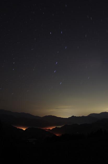 北斗七星とぼんやり富士山