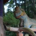 野川弁財天の木彫り狛犬-吽形