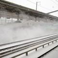雪煙り上げて通過!はやて104号と待避のやまびこ210号 福島駅にて