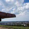 写真: ベンチからの空