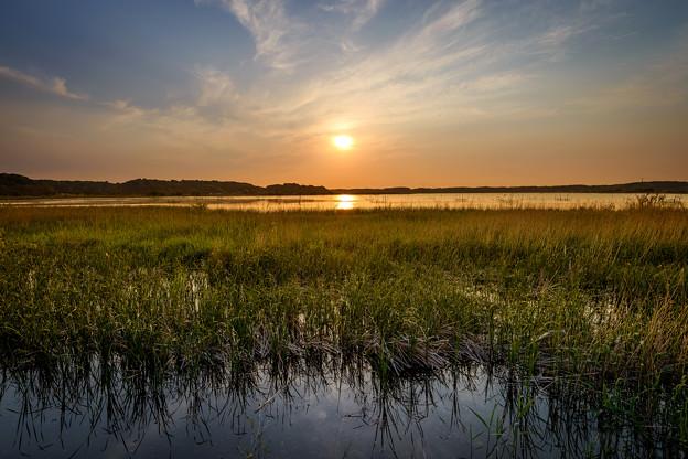 印旛沼の夕日6