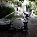 中庭にオブジェと水槽、ここでも飲食できます。