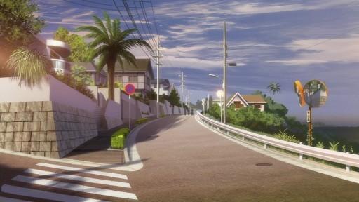 夕日の通学路