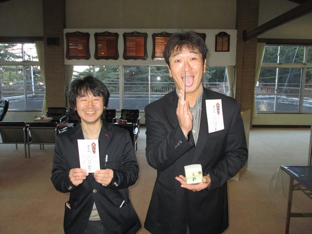 足利カントリークラブの佐野市長杯で第5位マサルくんと3位のサトさん2014.1.19