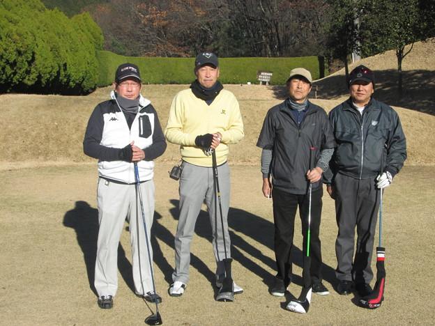 足利城ゴルフ倶楽部忘年コンペに参加した、澁さん・幹事・親さん・松さん2013.12.12