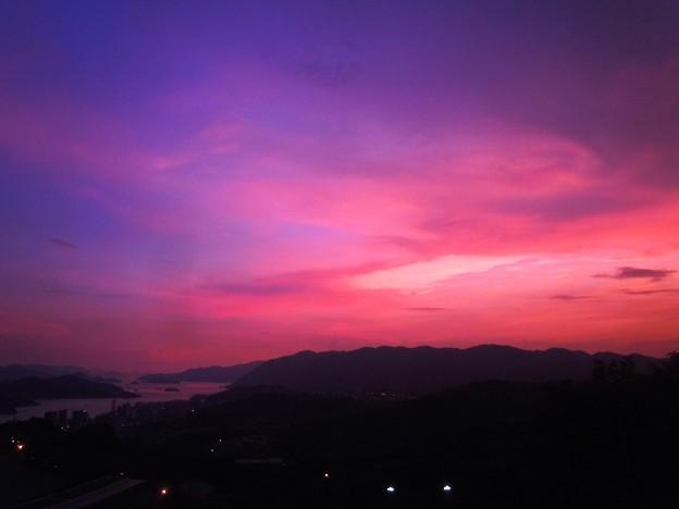 写真: 住吉花火祭の夕景 in 千光寺山展望台