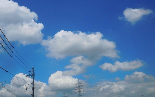 夏空に台風9号接近中