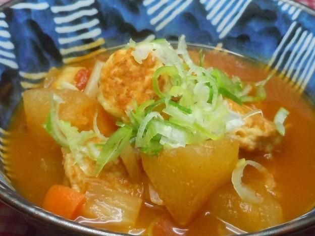 ☆我が家の特製ミネストローネ風鶏肉団子の冬瓜スープ♪