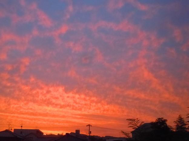 梅雨の空に真っ赤な朝焼け