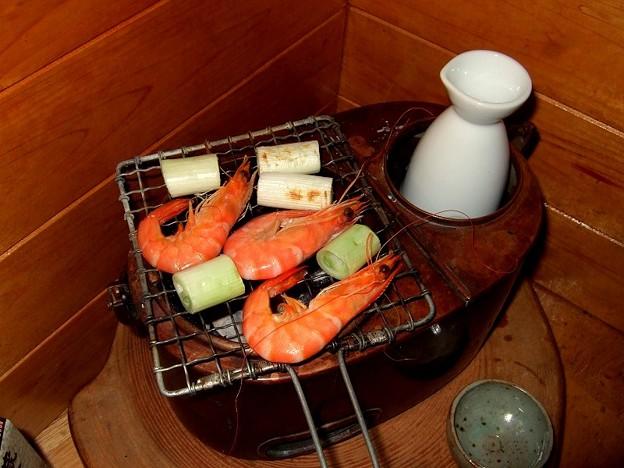 燗銅壺 焼きエビ