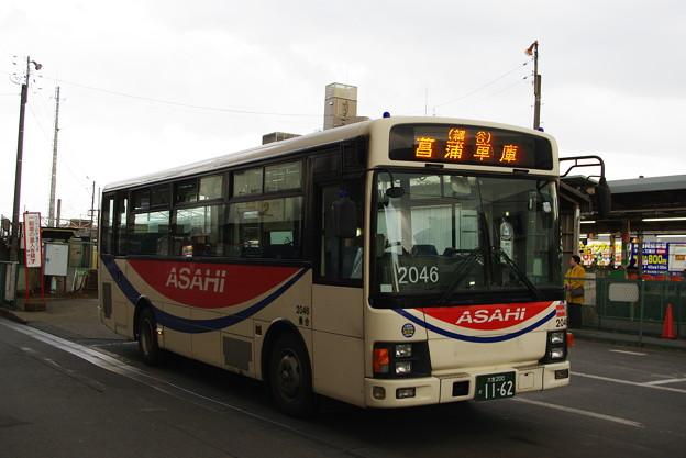 朝日自動車 2046号車 エルガミオ(前後扉車) 【ラッピング前】