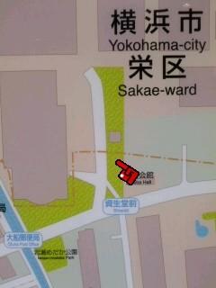 大芝神社の位置(大船駅の地図)。