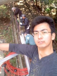 高所作業(12月30日、大船熊野神社)
