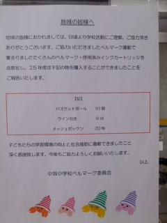ベルマーク運動の成果(3月23日、小坂小学校ベルマーク委員会)