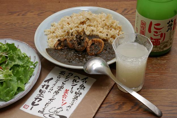 IMGP9612広島市佐伯区、八幡川にごり酒とイカ墨カレー