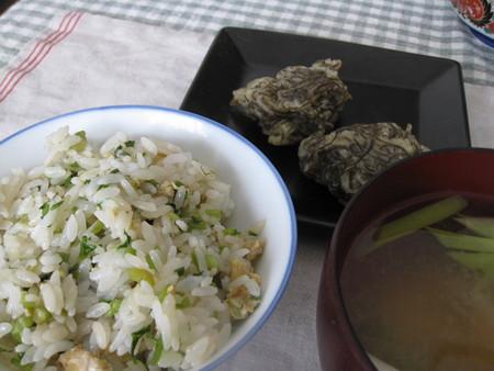 セリご飯ともずくの天ぷら