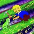 写真: カエルと草刈り