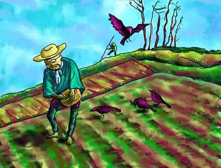 農夫とカラス