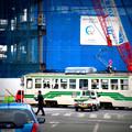 Photos: 再開発中の熊本駅前を走る市電。