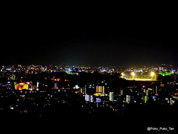 本妙寺山から眺めた熊本市街地の夜景。