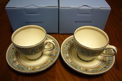 130622-4 ウェッジウッド・ターコイズのカップ&ソーサー