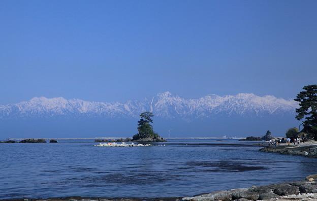 海から立山連峰を望む  雨晴海岸