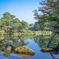 写真: 夏の兼六園 霞ヶ池 徽軫灯籠(ことじとうろう) と唐崎松