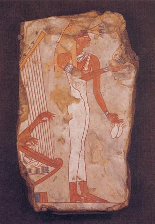 エジプト 第 18王朝 彩壁画片