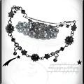 ★くるくるブラックスターのブレスレット 天然石オニキス 黒 ハンドメイド 手作り ワイヤーワーク(ワイヤーアート)グルグル渦巻き腕輪s4