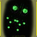 ∽ 光の精霊のピアス!蓄光ビーズ(夜光)&ひびガラスビーズ(クラックガラスビーズ)イエロー ハンドメイド 手作り ワイヤーワーク(ワイヤーアート)4