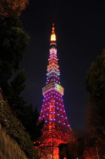 赤羽橋から見る東京タワーライトアップ・・20131222