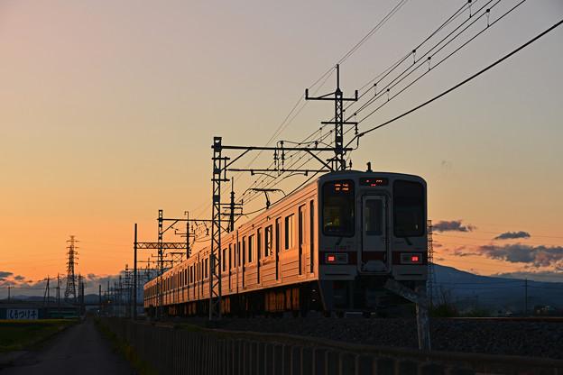 夕映えの列車