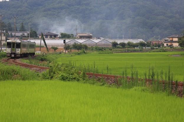 写真: 山間の田園を走る八高線