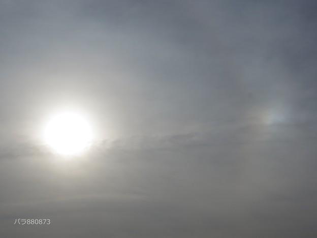 太陽と右側の幻日